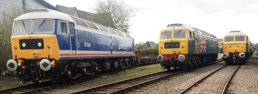 A line up of Class 47 diesel locomotives at Dereham  for a Gala Weekend in 2012.