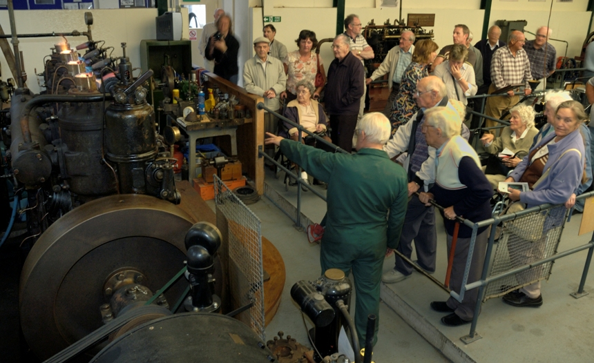 Volunteers run engines and give talks to visitors