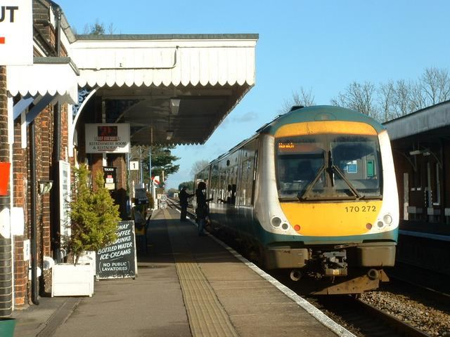 A local train calls at Wymondham Station