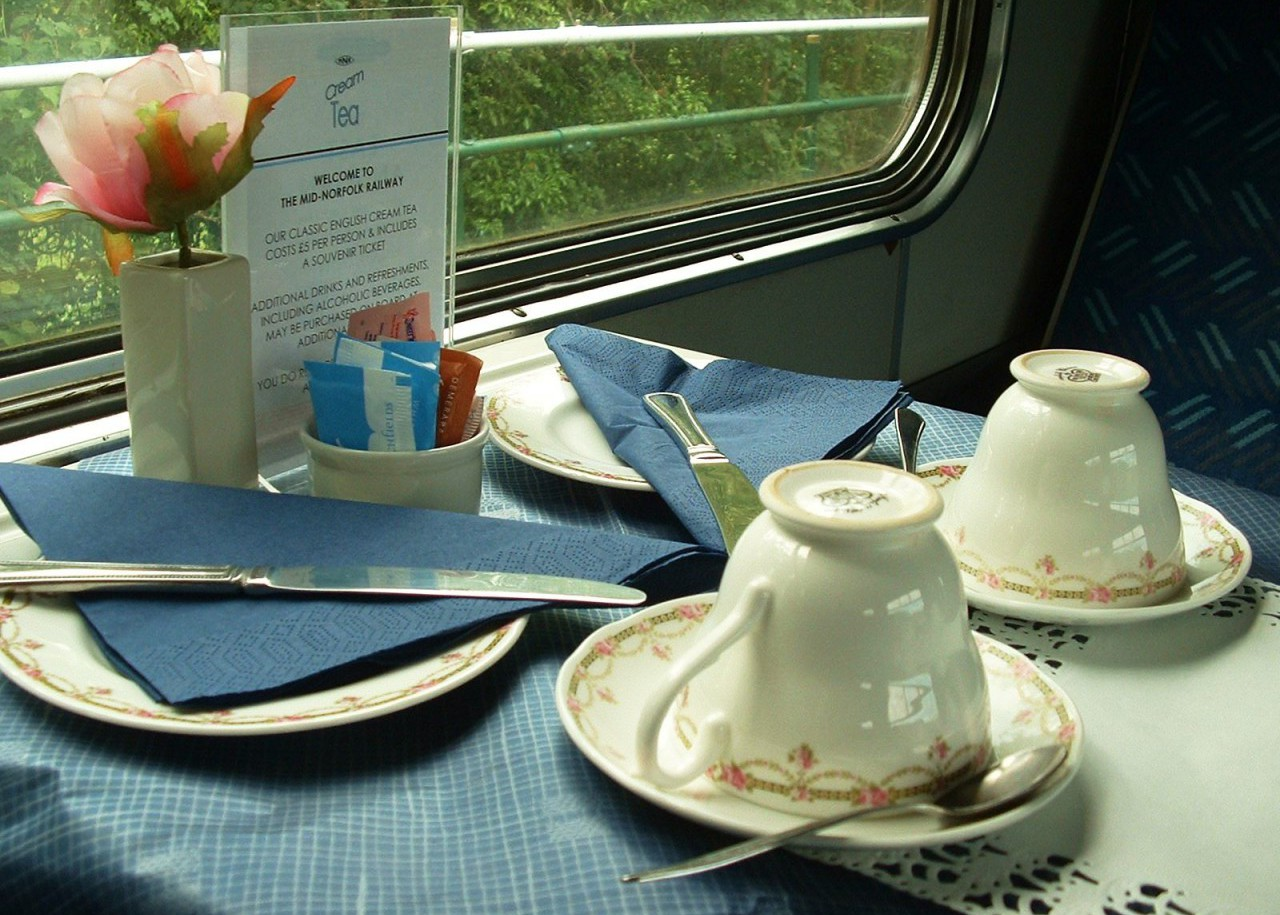 Cream Teas are served aboard the train at weekends during the summer.