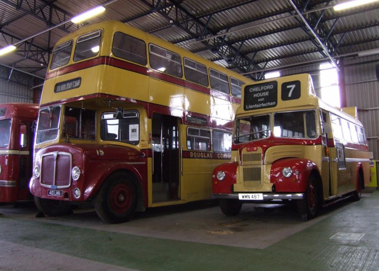 Two Douglas Corporation buses.  1957 Guy Otter and 1968 AEC Regent V.