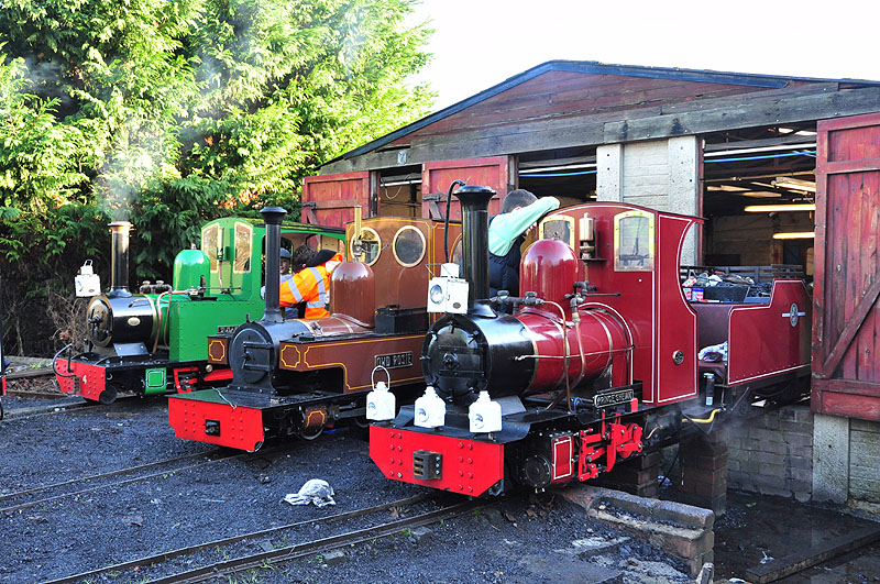 The large steam engines getting ready for service