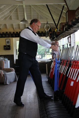 THe beutifully restored signal box at Cranmore