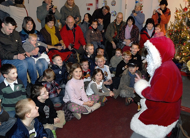 Father Christmas comes down the chimney at Perrygrove Railway