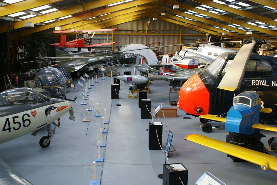 View inside Hangar 1 at Newark Air Museum.