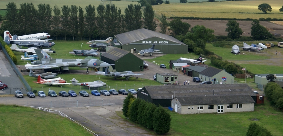 Aerial view of part of the Newartk Air Museum site.