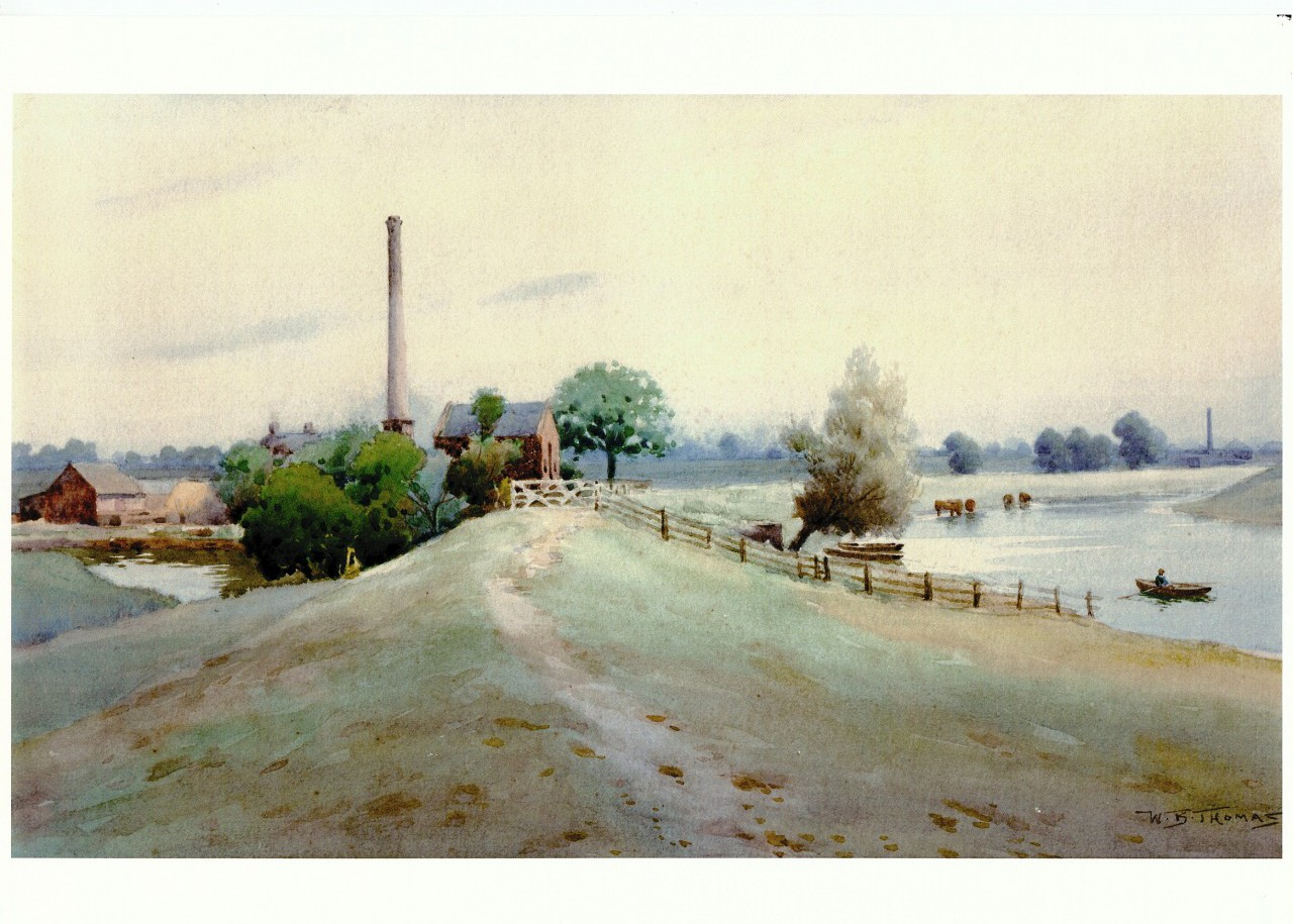 Undated watercolour by Boston artist W B Thomas depicting the pumping station.