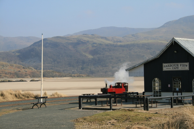 Russell arriving at Barmouth Ferry station