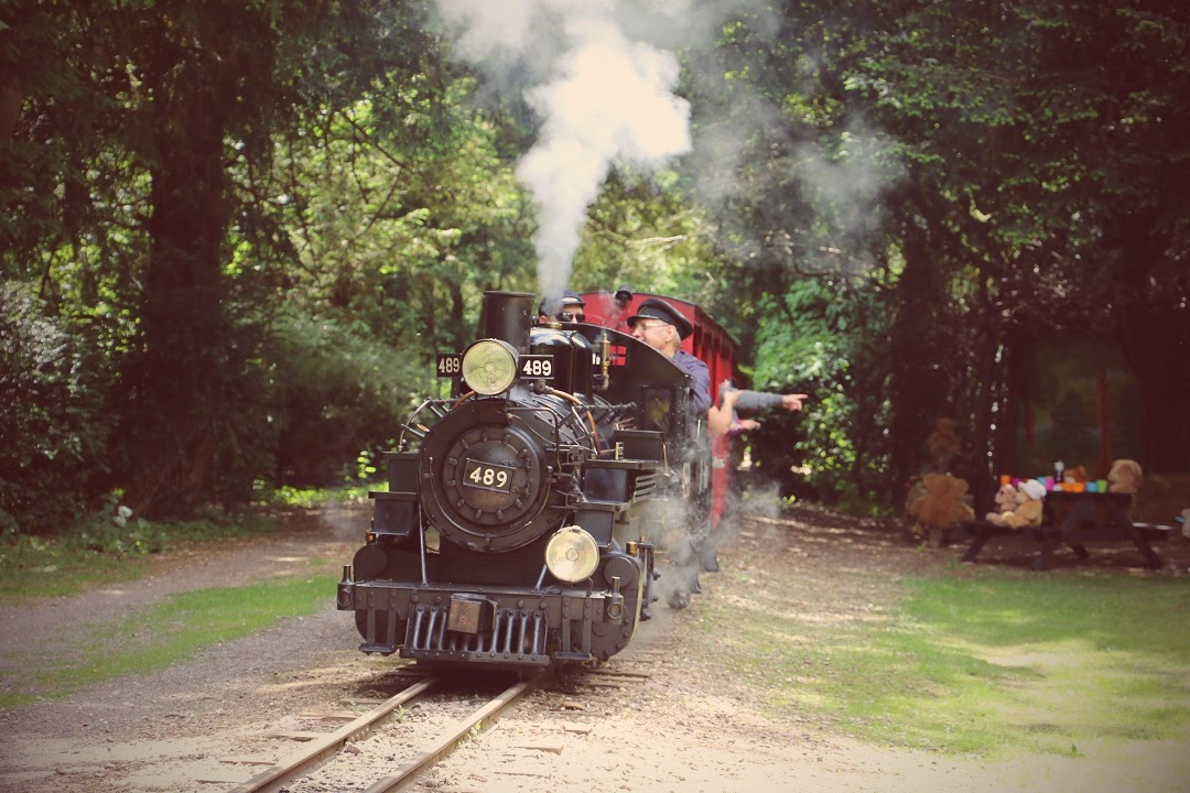 Sara Lucy the Steam Engine travelling around the track