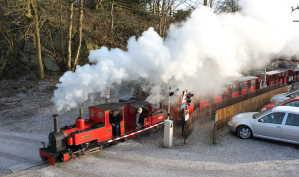 train departs Rudyard Station