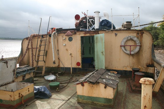 The foredeck with the water tank hatches.