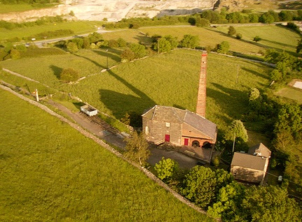 Aerial view of Middleton Top Engine House, on the High Peak Trail.